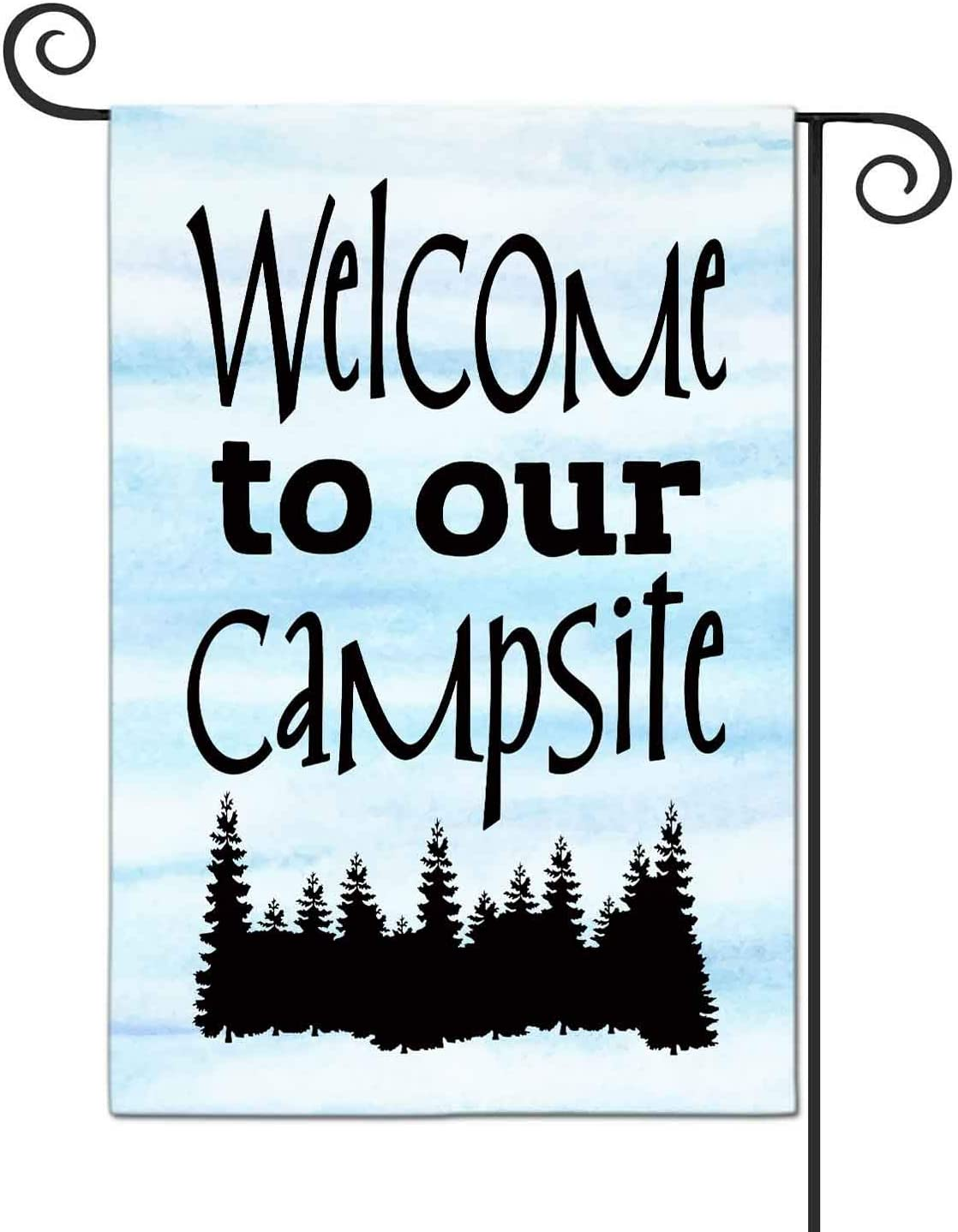 FANDEER Welcome To Our Camp Site Garden Flags Decorative Outdoor Flags Simple and Light 12 X 18 Inches Double Sided