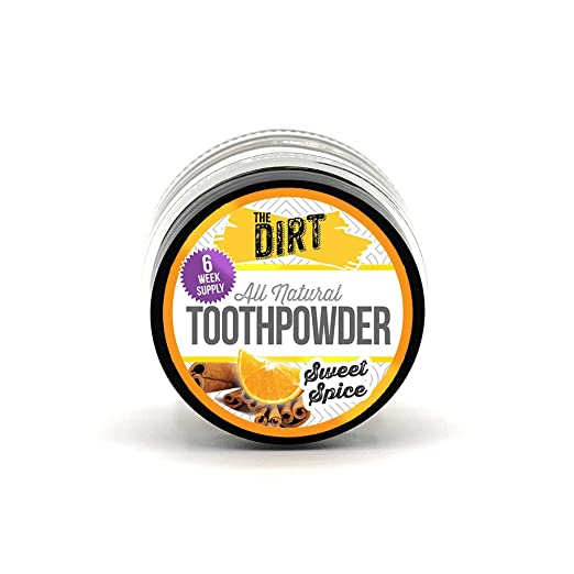 The Dirt - All Natural Tooth Powder For Organic Teeth Whitening and Cleaning - Gentle Extra Fine Bentonite Clay Helps Remineralize Teeth Sweet Spice (6 Week Travel Size 10g)