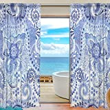 Vantaso Sheer Curtains 78 inch Long Abstract India Blue Floral for Kids Girls Bedroom Living Room Window Decorative 2 Panels