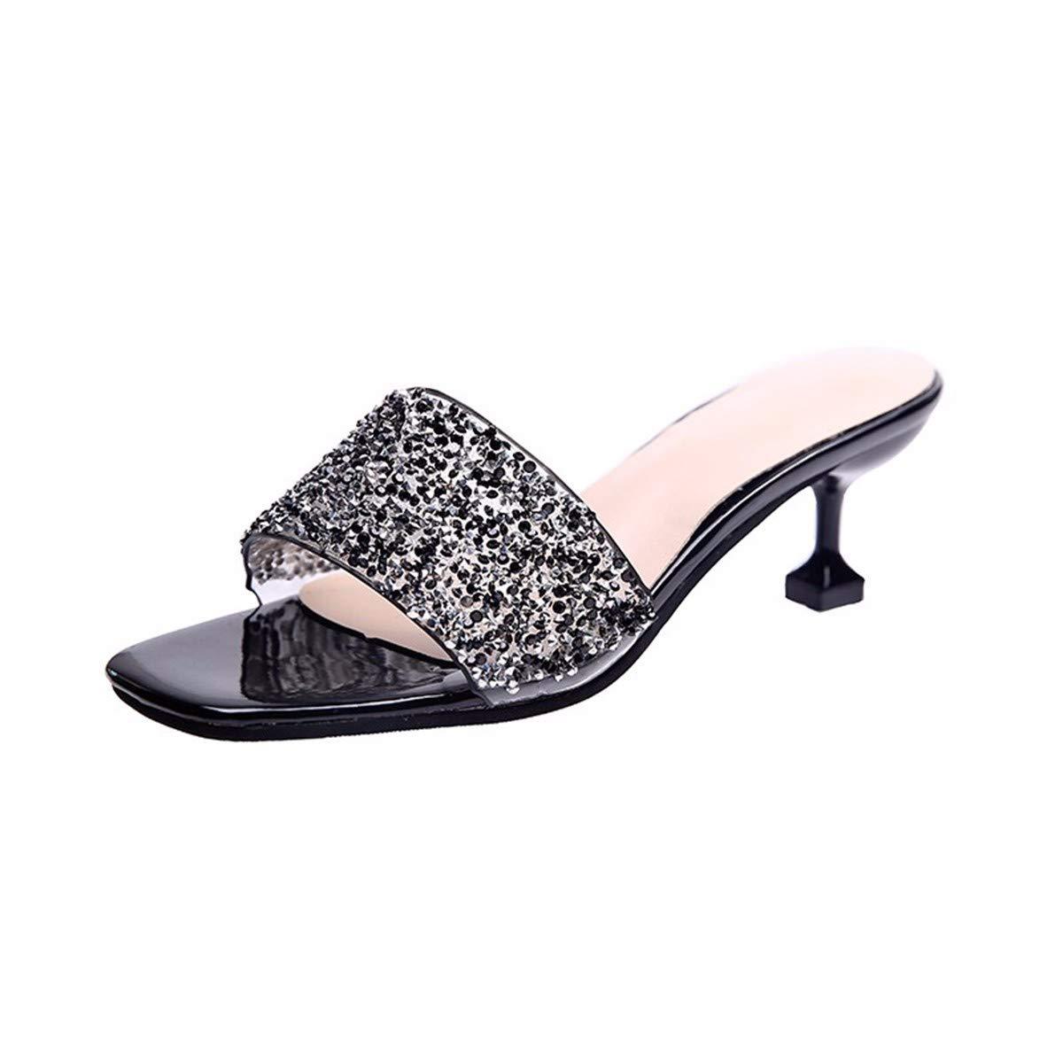 GTVERNH Damenschuhe/Mode/Pantoffeln Sind Überall mit Frauen in der Mitte Frauen mit Dünnen Worten Ein Wort Bohrer und Sexy Zehen.