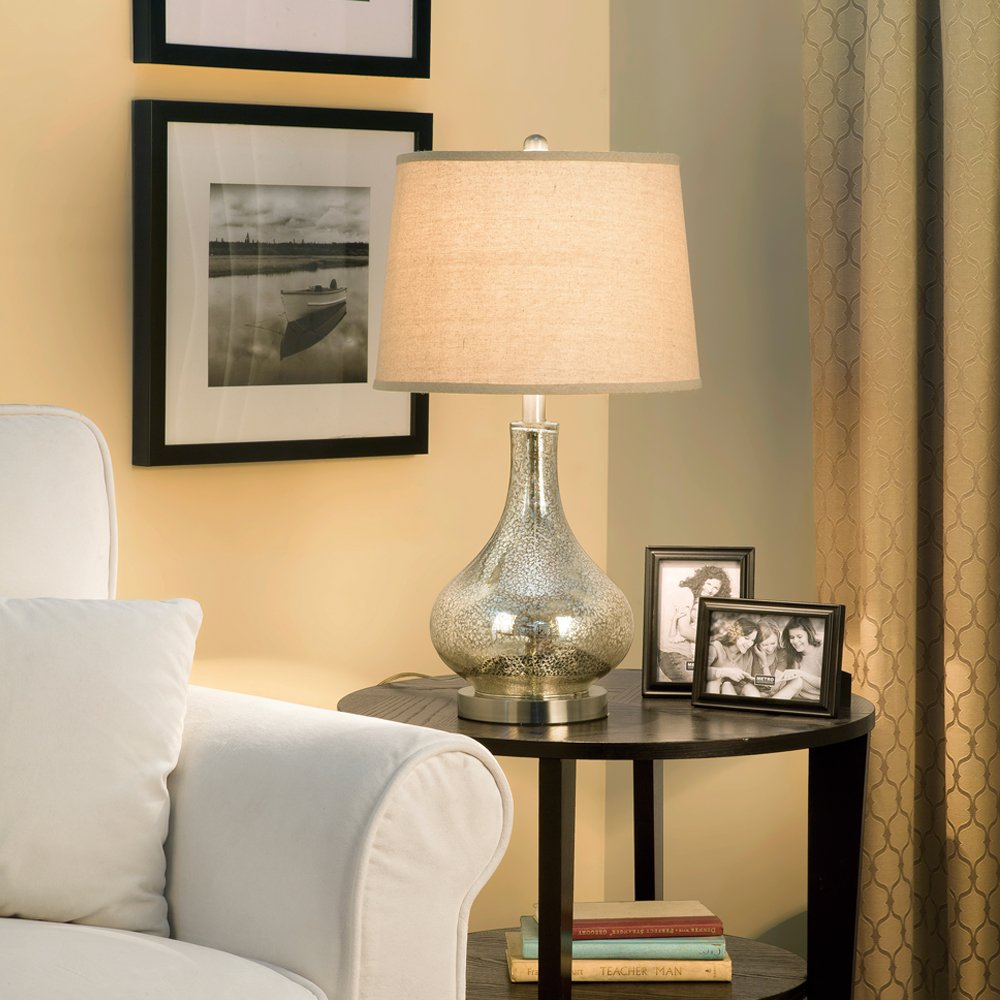 Catalina 19560 000 24 Inch, 3 Way Mercury Glass Gourd Table Lamp With Beige  Linen Drum Shade, Brushed Nickel Base     Amazon.com
