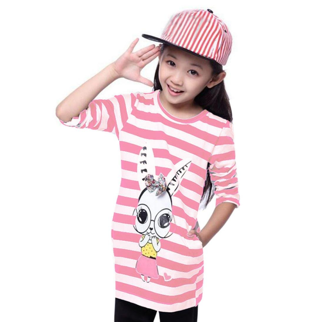 Sunward Little Girls Crewneck Cotton T-shirt Dresses Animal Applique Long Sleeve Dress (5-6T, Pink)