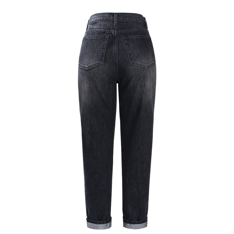 8fa63ccc81 Waist Boyfriend Jeans Women`s Black True Denim Pants Mom Jean Femme for Women  Jeans, Black, 27 at Amazon Women's Jeans store