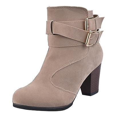 492b259c8293d3 Gaorui Damen Chunky Stiefel Blockabsatz Martin Stiefelette Seite Zip  Plattform Schuhe Spitze Bis Biker Combat Boots