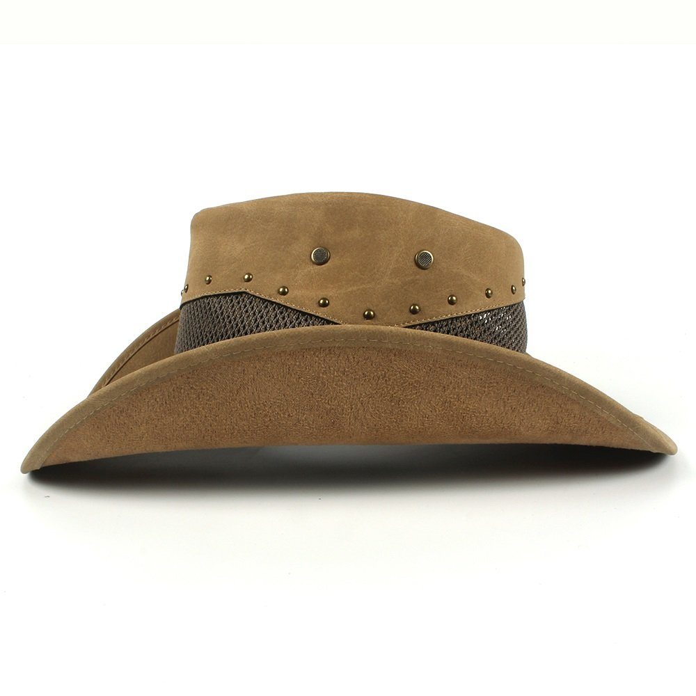 Color : Khkai, Size : 58-59cm MXL Mens Leather Cowboy Hat Summer with Mesh Dad Godfather Hats 58-59CM