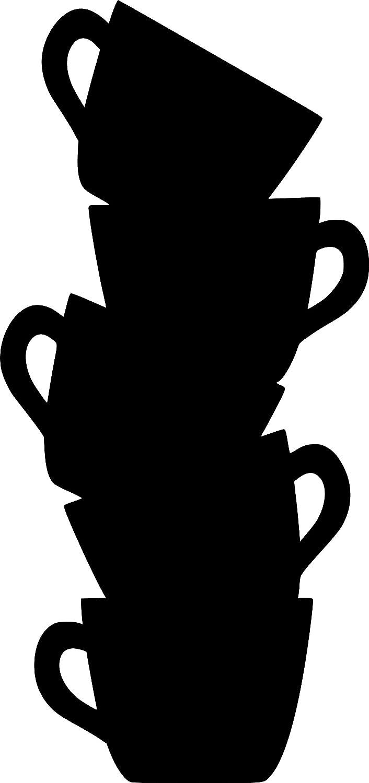 Pizarra de pizarr/ón para frigor/ífico o cocina pegatina de pared 40cm x 85cm // 16 x 34 negro Tazas de caf/é vinilo