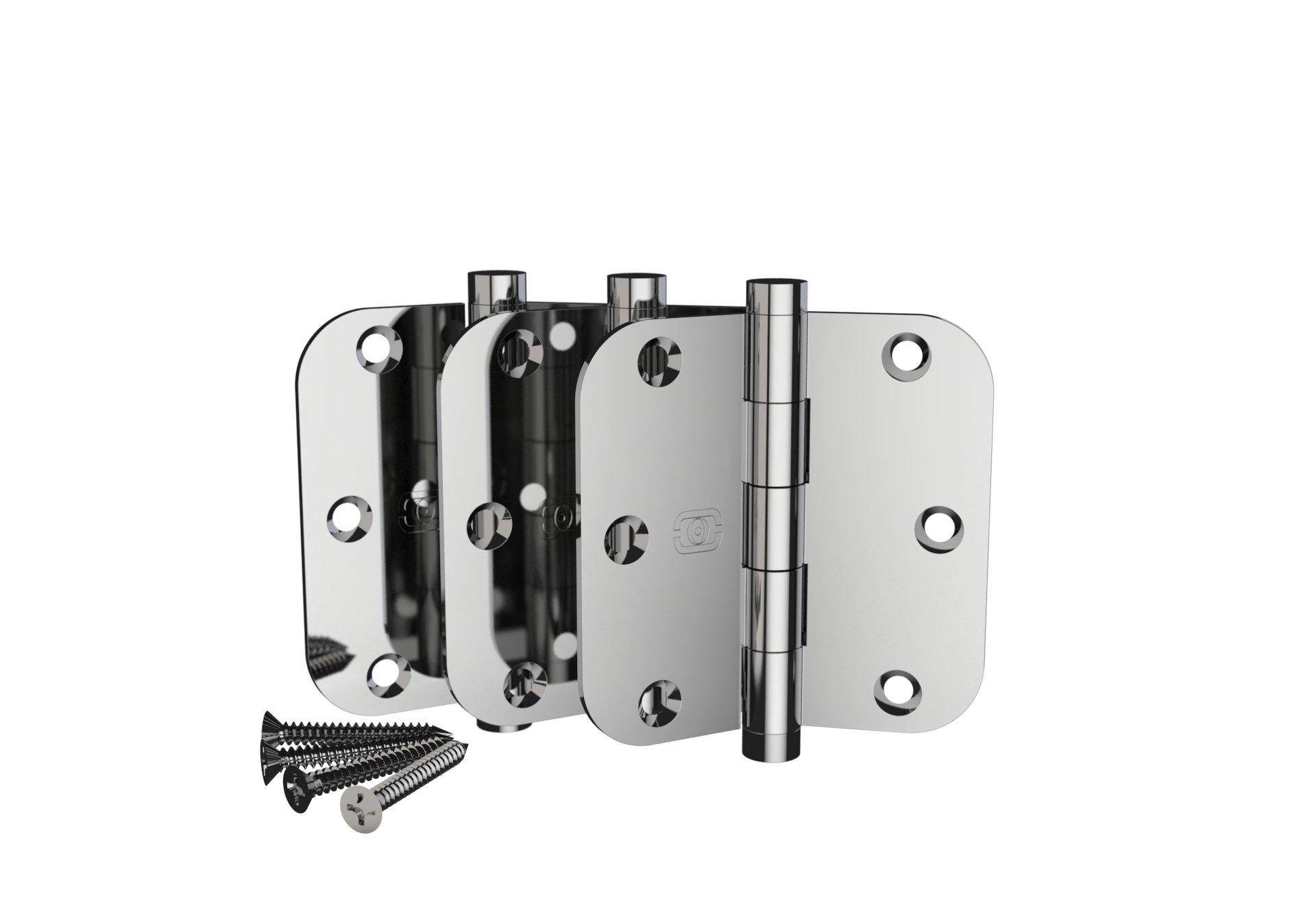 3 Pack Omnia 3 1/2 x 3 1/2 Extruded Solid Brass Door Hinge 5/8'' Radius Corner with Button Tip US26 Finish (Polished Chrome)