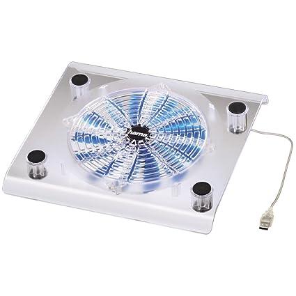 Hama 039689 - Soporte con ventilador para ordenadores portátiles, color Transparente