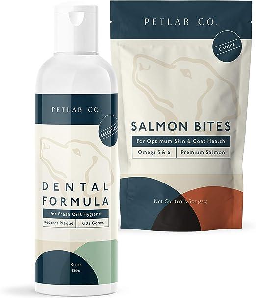 Petlab Co. Dental Wash + Salmon Bites for Dogs Supplement Bundle   Dog Mouthwash & Teeth Cleaner   Dental Water Solution, Targets Plaque & Tartar   Rich in Omega 3   Supports Optimum Coat Condition