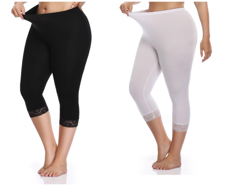 Kotii Women's Plus Size Lace Trim Capri Leggings Stretch Crop Leggings Summer Tights Pants,2X
