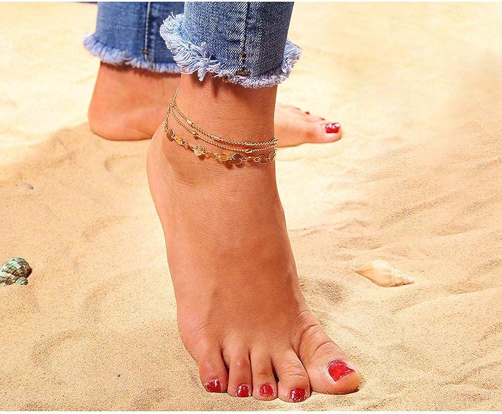 Sungpunet Les Femmes Anklet 3Pcs Multicouches cha/îne Cheville avec Un Design r/églable Pieds Style Bracelet d/ét/é Plage de Boh/ème Ornement dor Anklet