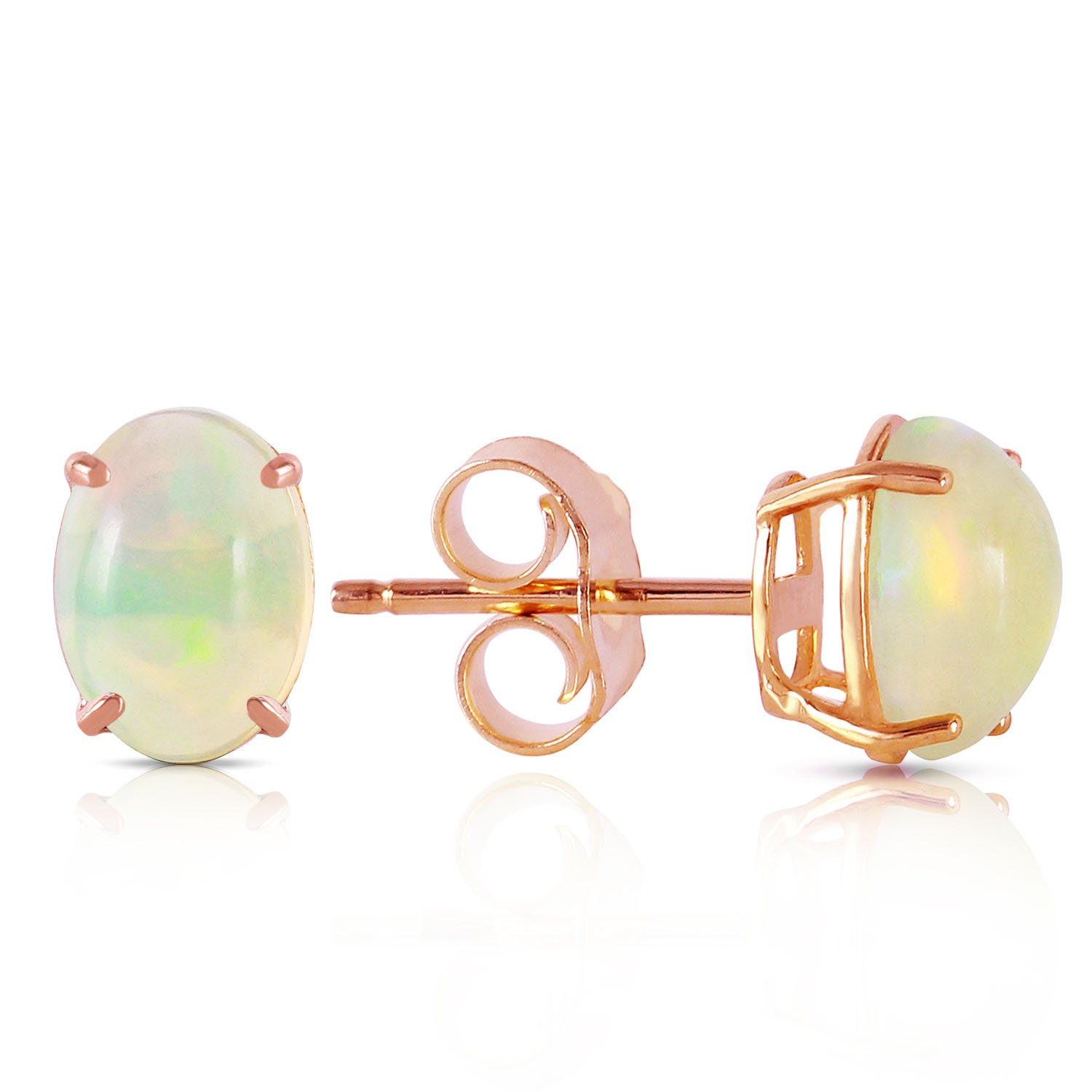 14K Solid Rose Gold Stud Earrings with Natural Opals