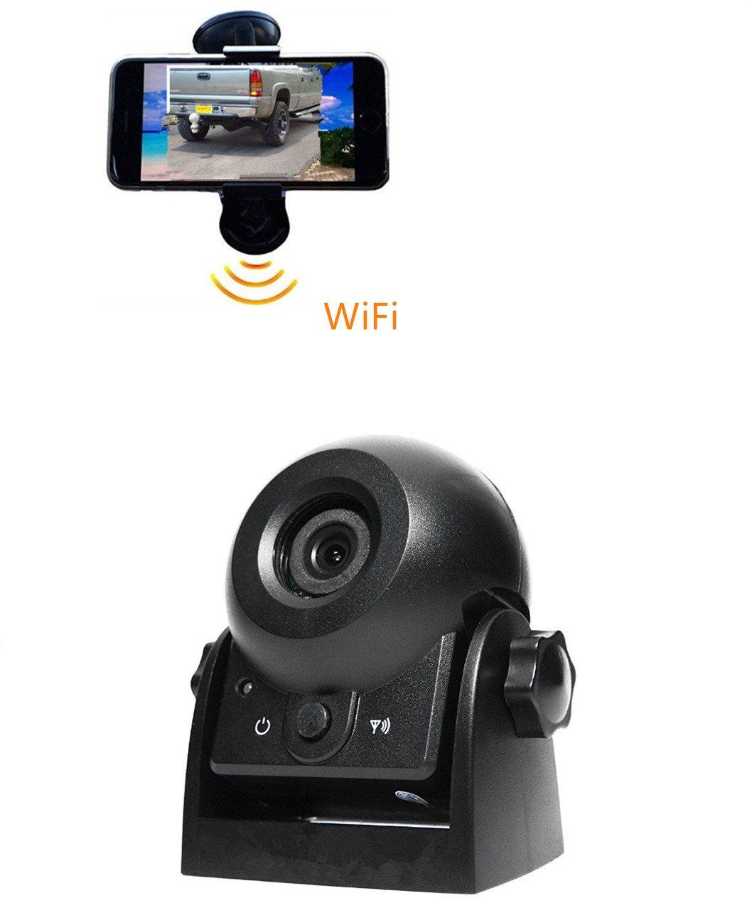 EsiCam® Weltneuheit, direkt HD auf iPhone anschauende drahtlose Anhängerkamera EH05 für RV, Abschleppwagen, LKW, SUV, Nachtsicht möglich, mit Lichtblitz, All-in-one