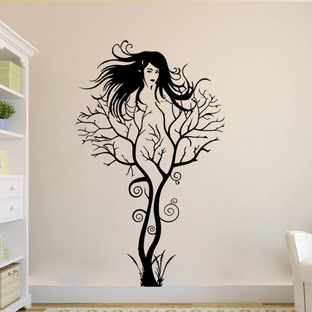 amazon com creative sexy girl tree removable wall sticker decal amazon com creative sexy girl tree removable wall sticker decal home decor vinyl mural art 1pcs cell phones accessories