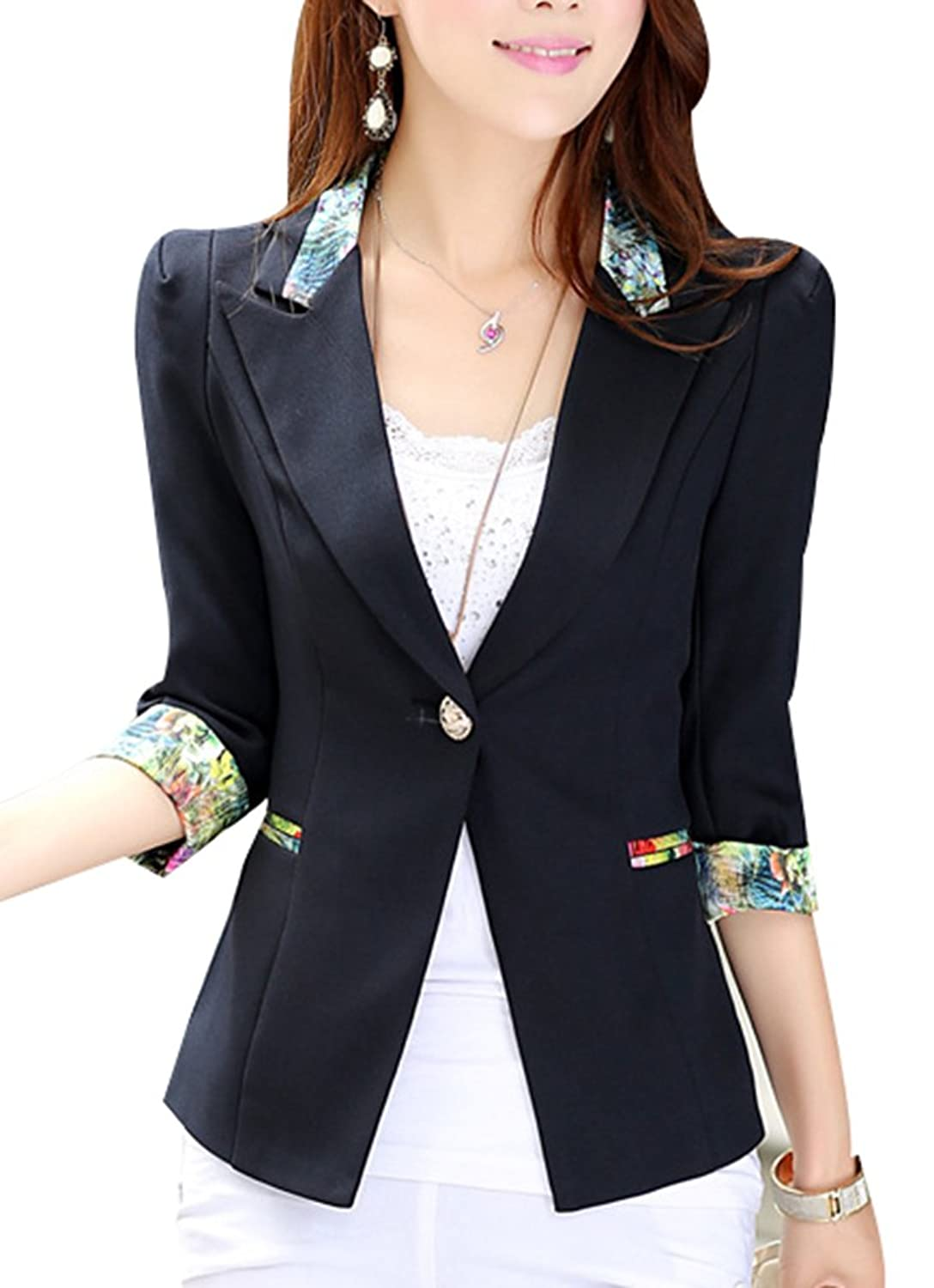 Women's Girls 1/2 Long Sleeve Slim Fitted Floral Print Casual Suit ...