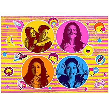 Soy Luna 634024 Alfombra de decoración de Sol 4 Retratos Terciopelo Rosa 133 x 95 x