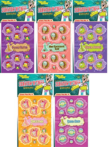 Just For Laughs Dr. Stinky's Scratch N Sniff Stickers 5-Pack- Sour Apple, Cough Drop, Mint Chocolate Chip Ice Cream, Fruit Smoothie, Peanut Butter 135 Stickers (Series4)