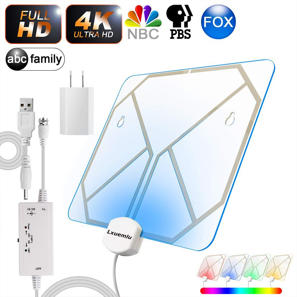 【2019 Newest】 TV Antenna Clear Acrylic Indoor Digital HDTV Antenna with Color Changing Lights - Home Decoration, Lxuemlu 120+ Miles Range HD Antenna - Extremely High Reception