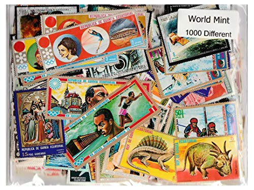 World Mint : 1000 Different Worldwide Stamps Collection Mixture Packet Stamps for Collectors