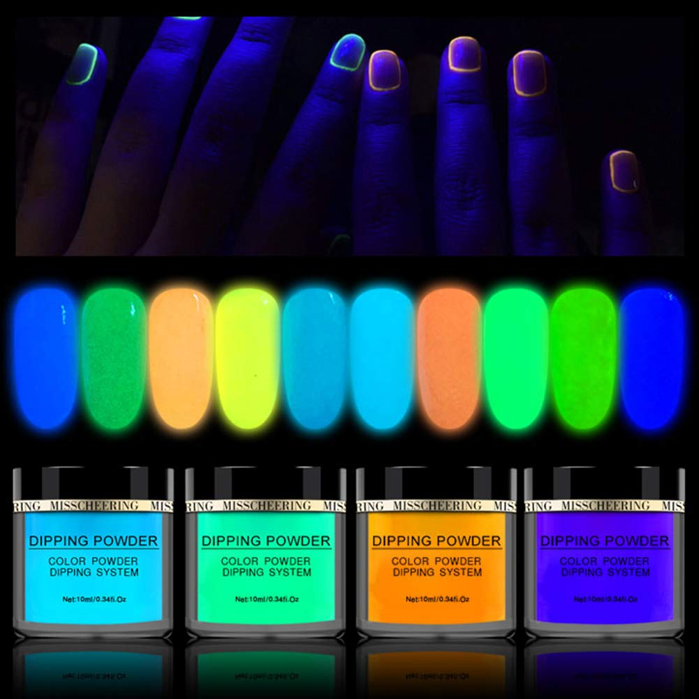10 Colors Luminous Dipping Nail Powder Kit Fluorescent Effect Acrylic Glitter Nail Dipping Powder Without Lamp Cure Natural Dry Nail Art Decoration by Angmile
