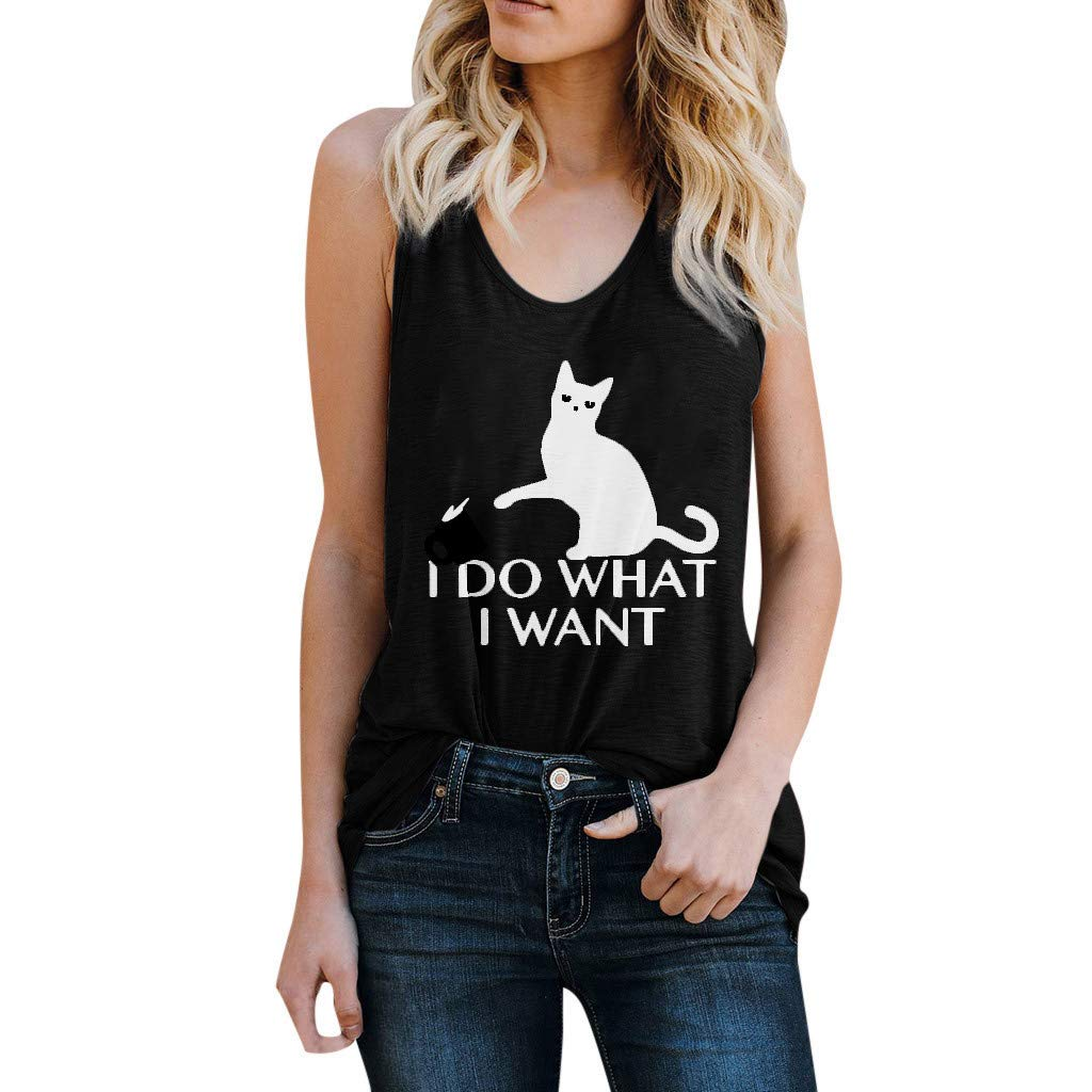 Leoy88 Women I DO What Letter Vest Sleeveless Loose Crop Tops Tank Tops Blouse Tops T-Shirt Black