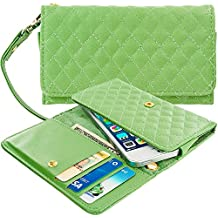 Case+Stand Women Luxury Purse/Pouch/Clutch/Wallet Fits Apple Samsung Motorola LG ZTE HTC etc. Universal PU Leather Quilted Handle Wristlet Strap - Grass Green Small Fits the Following Models: