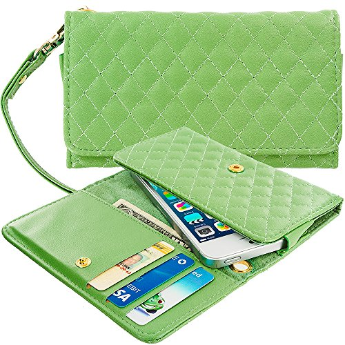 T-mobile Mytouch 3g Bling (Case+Stand Women Luxury Purse/Pouch/Clutch/Wallet Fits Apple Samsung Motorola LG ZTE HTC etc. Universal PU Leather Quilted Handle Wristlet Strap - Grass Green Small Fits the Following Models:)
