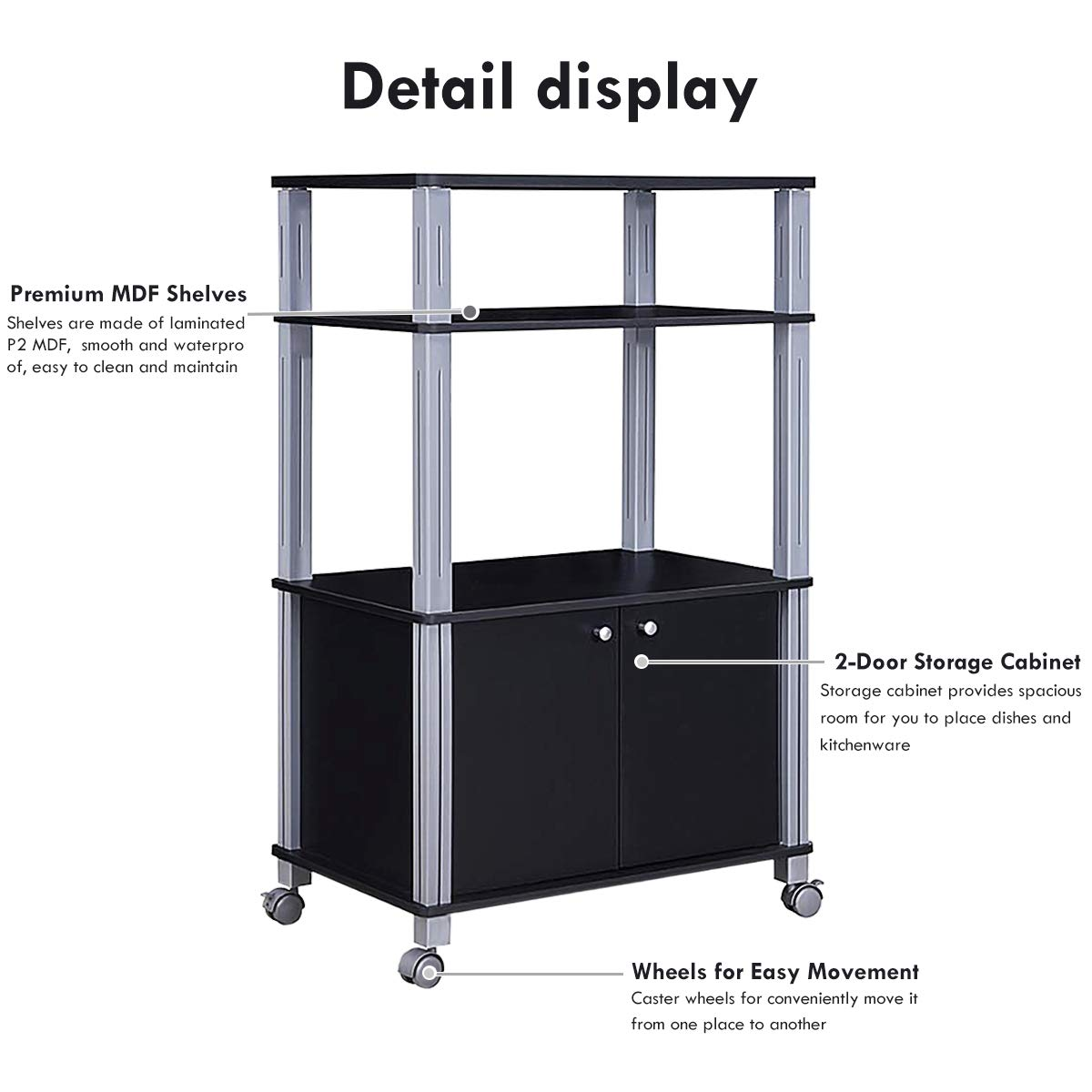 Giantex Rolling Kitchen Baker's Rack Microwave Oven Stand Utility Cart Multifunctional Display Shelf on Wheels with 2-Tier Shelf and Cabinet Spice Organizer for Kitchen Dining Room Furniture (Black) by Giantex (Image #4)