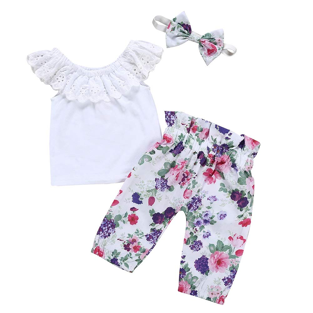 Wongfon Girls Off Shoulder Tops Short Sleeve T-Shirt Headband 3 Pcs Clothing Outfit for 1-7 Years Ripped Jeans Shorts