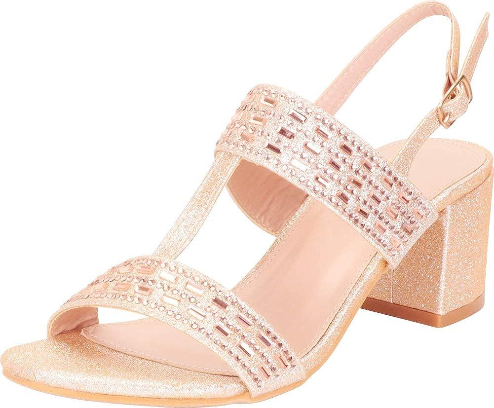 Champagne Glitter Cambridge Select Women's T-Strap Crystal Rhinestone Slingback Chunky Block Heel Dress Sandal