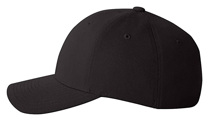 Flexfit Men's Six Panel Mid Crown Cap, Black, Small/Medium at Amazon