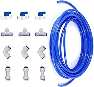 "Rykey 12 pcs 1/4"" Quick Connect Push In to Connect Water Purifiers Tube Fittings for RO Water Reverse Osmosis System+10 meters(32 feet) tubing hose pipe (blue tubing 10 meters)"