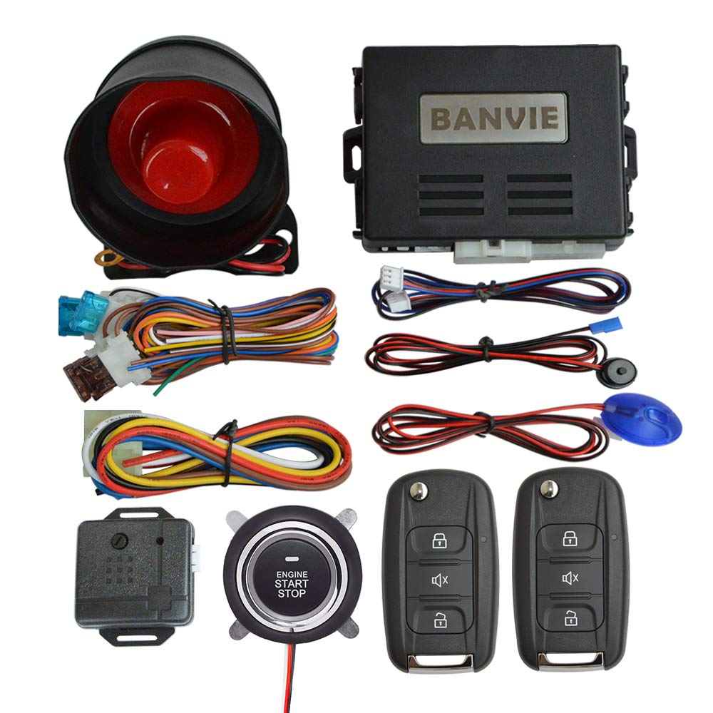 BANVIE Car Security Alarm System with Remote Engine Start & Push to Start Stop Button (1-Way Alarm + Remote Starter + Push Start Stop Buttton) by BANVIE