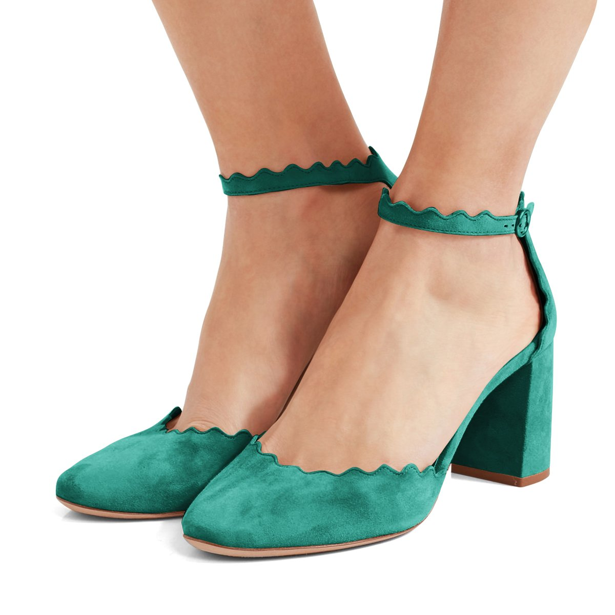 FSJ Women Comfortable Ankle Strap Pumps Block Chunky Heels Round Toe D'Orsay Shoes Size 4-15 US B078HVYQMC 9.5 M US|Turquoise