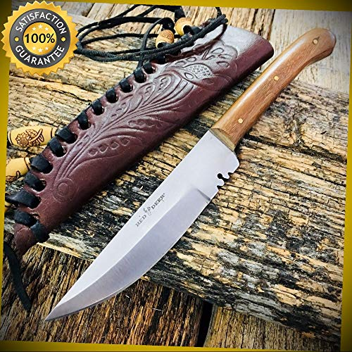 RED DEER 8.5'' Full Tang Western Style Fixed Blade Patch Knife Leather Sheath for Hunting Camping Cosplay