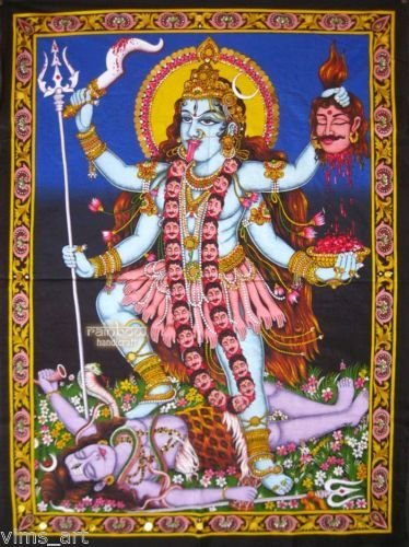 Huge Cotton Fabric Goddess Kali 43