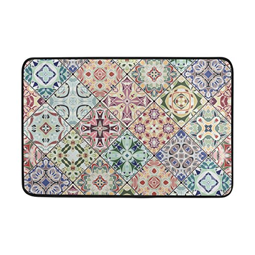 Mrmian Abstract Mosaic Patterns Rubber Non-Slip Entry Way Floor Mat Outdoor Indoor Decor Rug 23.6