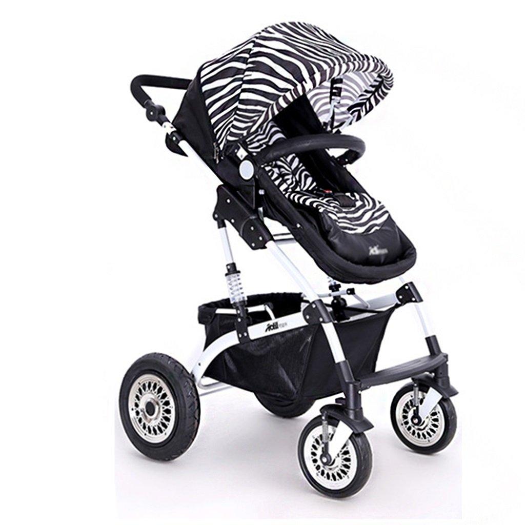高い風景の赤ちゃんトロリー座って、赤ちゃんキャリッジ折りたたみカートを開くことができます折りたたみ可能な双方向のサスペンション子供の傘   B07D1NH351