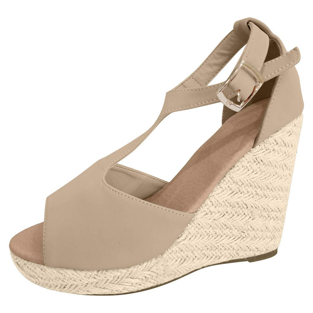 【MOHOLL 】 Womens Wedges Ankle Strap Closed Toe Heeled Sandals Casual Rubber Sole Studded Open Toe Sandals Beige by ✪ MOHOLL Shoes ➤Clearance Sales