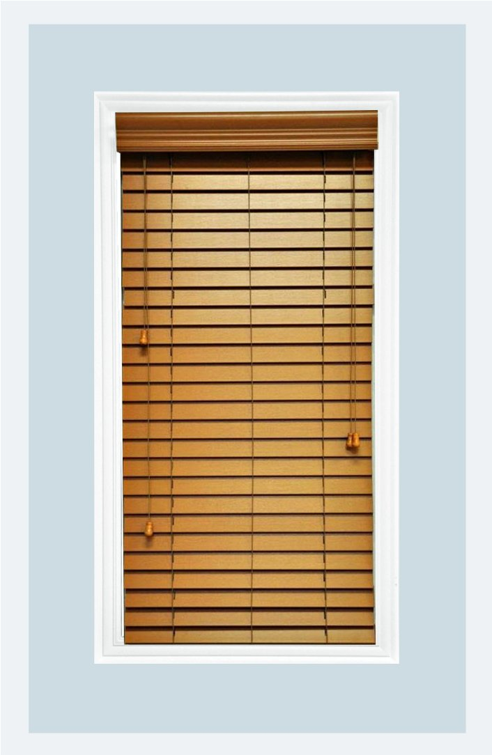 Delta Blinds Supply Custom-Made, Faux Wood Horizontal Window Blinds, 2 Inch Slats, Inside Mount, Golden Oak, Inside Window Size: 18'' W x 24'' L