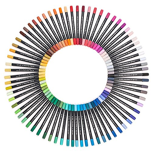36 Dual Tip Brush Marker Pens,0.8 Fine Tip Art Markers&Brush Highlighter Pen for Adult Coloring Books,Drawing, Highlighting, Underlining Pack of 36 for Bullet Journal