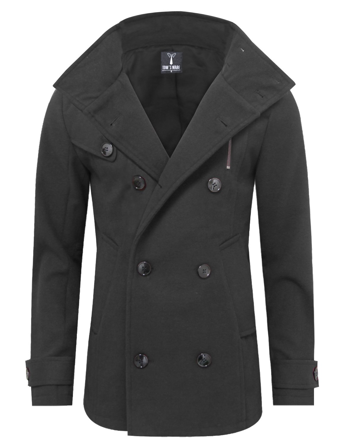 Tom's Ware Mens Stylish Fashion Classic Wool Double Breasted Pea Coat TWCC06-08-CHARCOAL-US XL