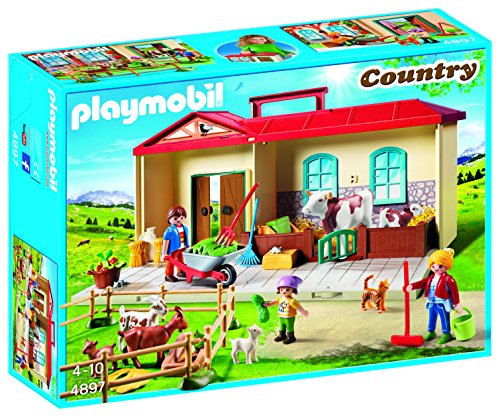 PLAYMOBIL® 4897 Country Take Along Farm with Carry Handle and Fold-Out Stables - (Handle Farm)