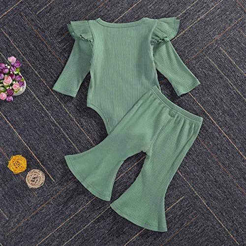 Newborn Baby Girls Knit Outfit Long Sleeve Ruffle Romper Bodysuit Top Solid Plain Flare Pants Clothes Set 2PCS Green 12-18M