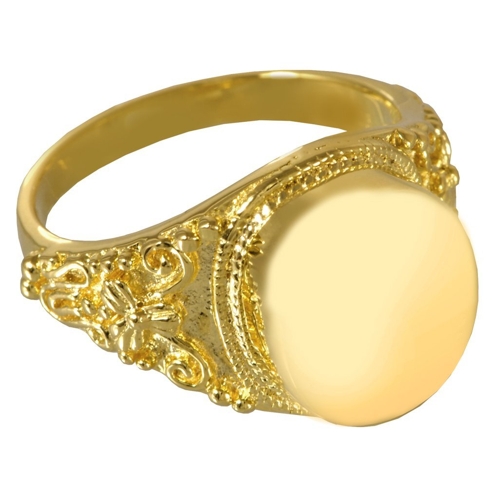 Memorial Gallery 2004gp-9 Round Ring 14K gold Sterling Silver Plating Cremation Pet Jewelry, Size 9