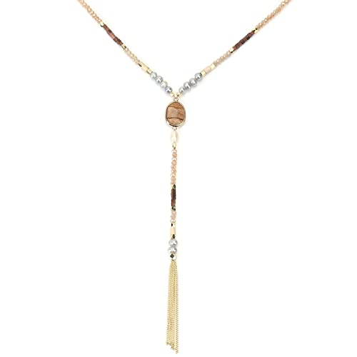 27ff4ac5f7 KISSPAT Long Chain Necklace for Women Statement Beaded Y Tassel Boho Chic  Necklace with Gemstone