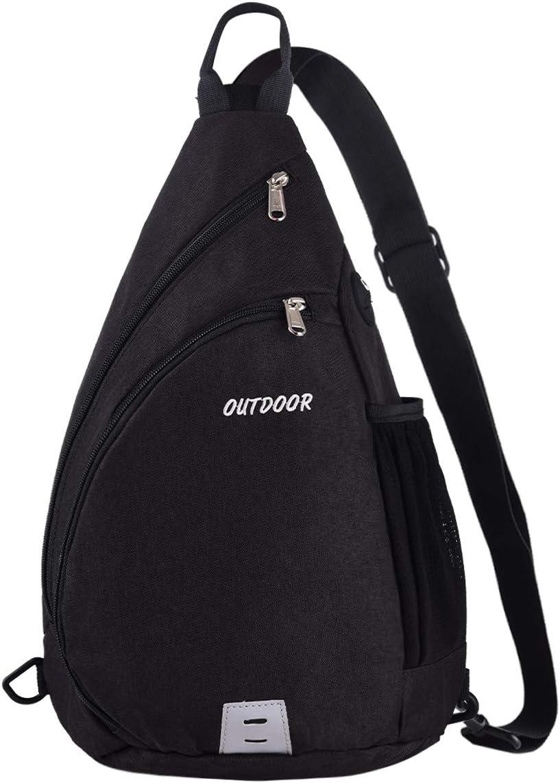 Sling Backpack for Man Women,LUSAF Sling Bag Water Tear Resistant 15L Crossbody Hiking Daypack Boys Girls Black
