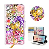 STENES Galaxy S8 Plus Case - Stylish - 3D Handmade Bling Crystal Mask Leaf Pendant Crown Flower Design Wallet Credit Card Slots Fold Stand Leather Cover for Samsung Galaxy S8 Plus - Pink