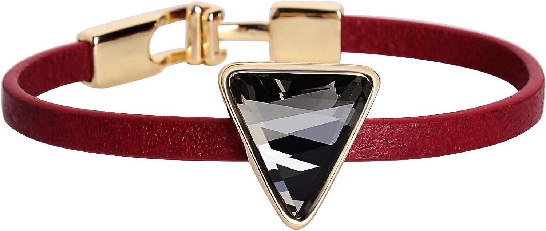 AnazoZ Pulseras Cuero Plata Mujer Pulsera Triangular Pulsera Rojo Negro Marrón Rojo Pulsera 18 x 0.4CM