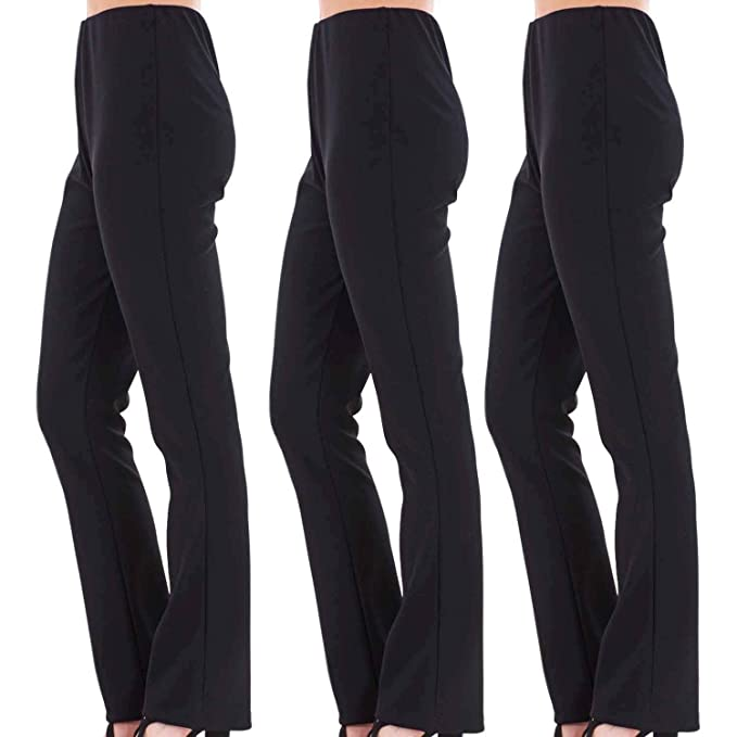 4db3b951 VR7 Ladies (Pack of 3) Stretch Bootleg Trousers Ribbed Women Bootcut  Elasticated Waist Pants Work WEAR Pull ON Bottoms Plus Sizes 8-26:  Amazon.co.uk: ...